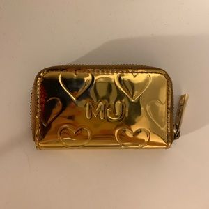 "Marc Jacobs ""Mirror Heart"" Change Purse in Gold"
